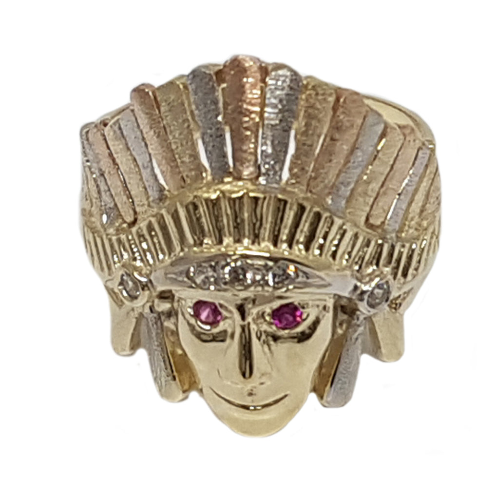 Indian Chief CZ Head 10K Two Tone 6.2 Grams Ring For Men
