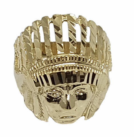 Well Designed Native American Head 10k Yellow Gold 6.8 Grams Ring for Men - Solid Gold Online