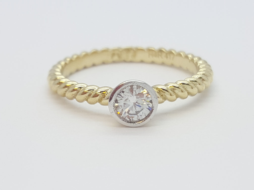 Gemma 10K Yellow Solid Gold Diamond Women Ring