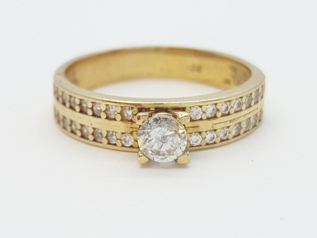 Ghisolabella 10K Yellow Solid Gold Diamond Women Ring