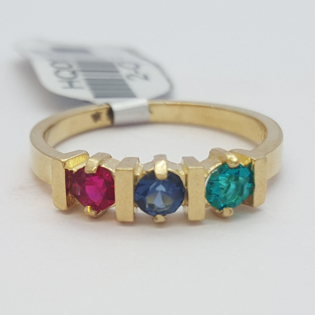 Ginevra 10K Yellow Solid Gold 3 Stones Gemstones Women Ring