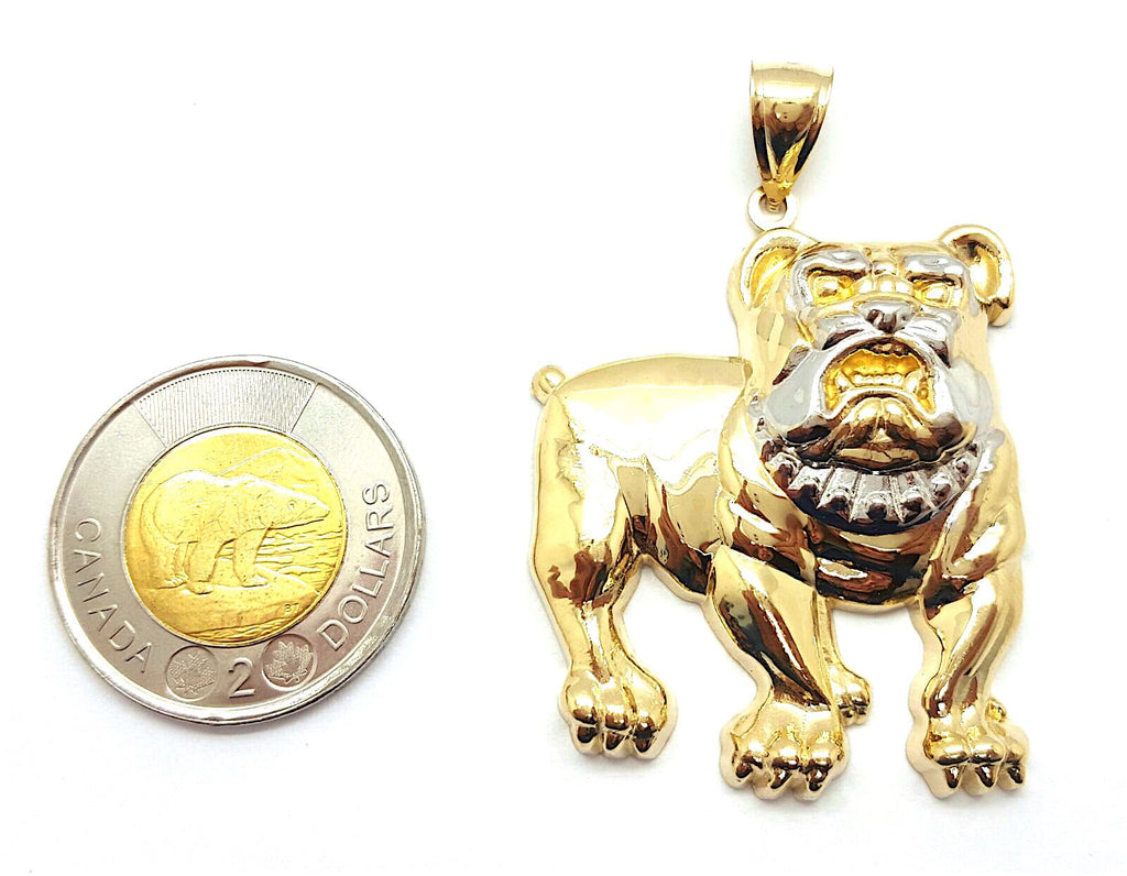 Bulldog Big 10K Yellow Gold 11.28 Gr Men Pendant