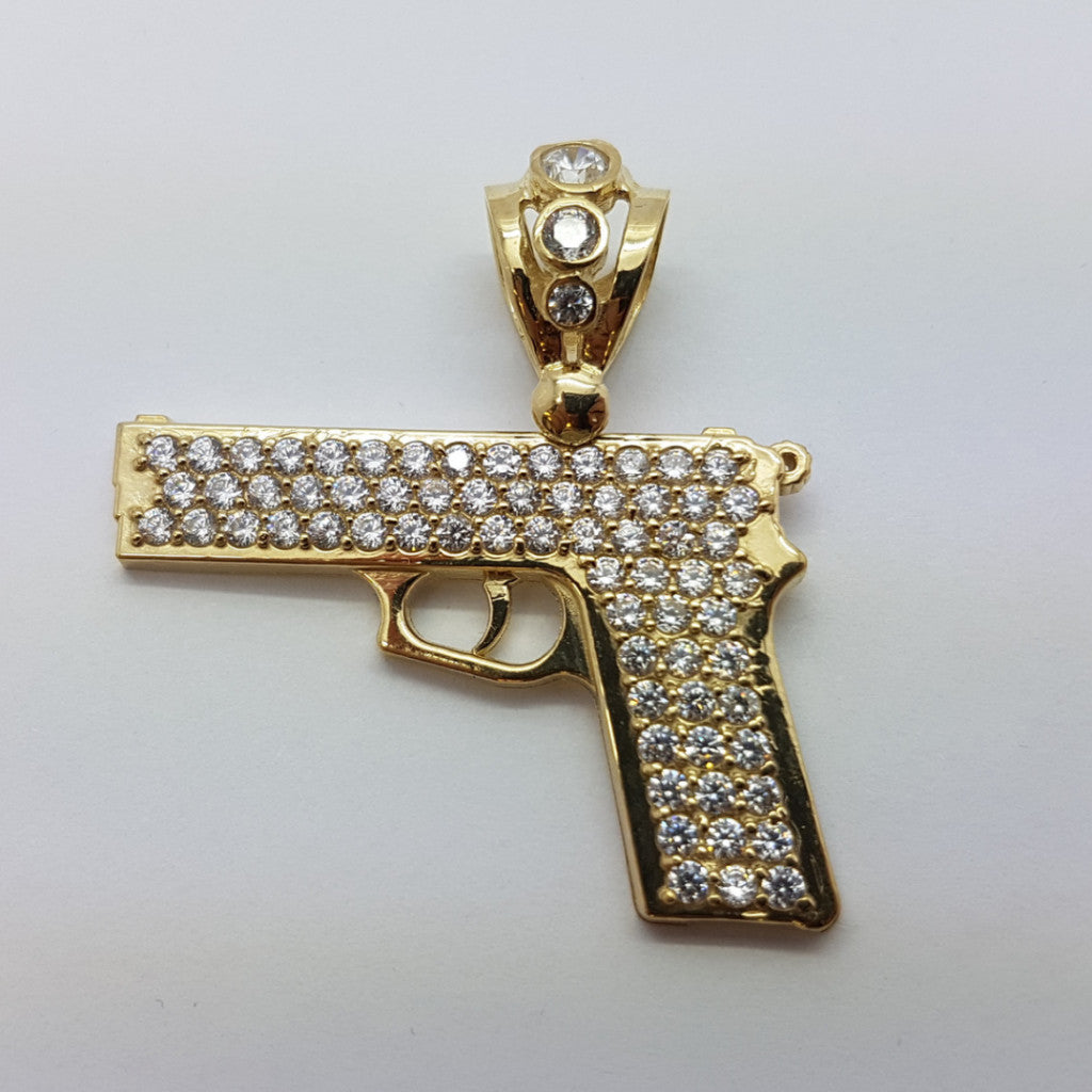 Gun 10K Yellow Gold 6.3 Gr Men Pendant - Solid Gold Online