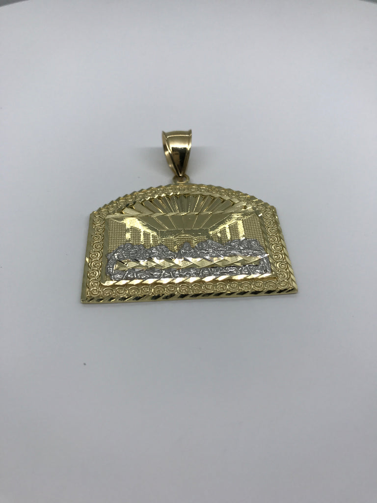 Last Super Gold Jesus Apoatles on Dome Shaped Plated 10K Yellow Gold Pendant - Solid Gold Online