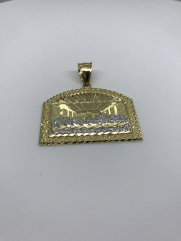 Last Super Gold Jesus Apoatles on Dome Shaped Plated 10K Yellow Gold Pendant