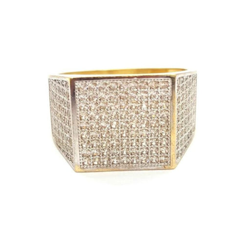 10k Yellow Gold Biggy Round Shape Ring Cubic Zirconia Men Ring - Solid Gold Online