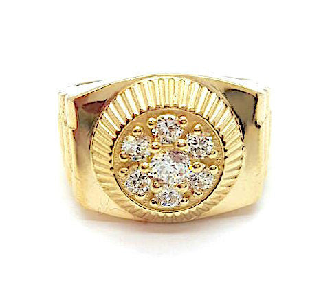 10k Yellow Gold Cubic Zirconia Michele Rolex Round Shape Men Ring - Solid Gold Online