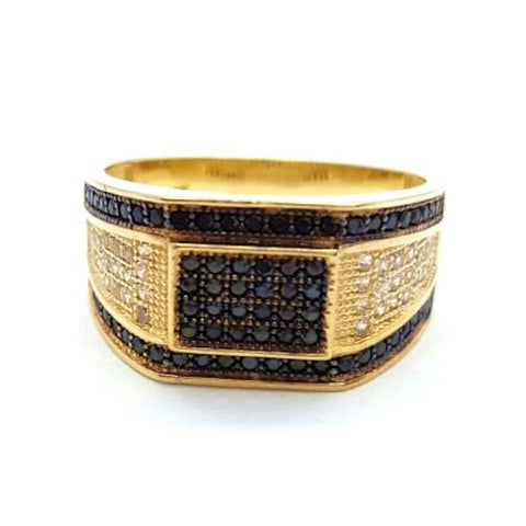 10k Yellow Gold Cubic Zirconia Blacksmith Round Shape Men Ring - Solid Gold Online