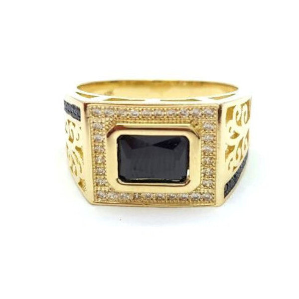 10k Yellow Gold Blackstone Round Shape Ring Cubic Zirconia Men Ring - Solid Gold Online