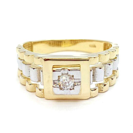 10k Yellow Gold Picola Rolex Round Shape Ring Cubic Zirconia Men Ring - Solid Gold Online