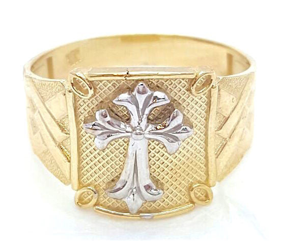 10k Yellow Gold Cross Round Shape Cubic Zirconia Men Ring - Solid Gold Online