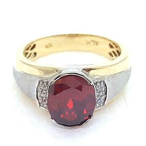 10K Yellow Solid Gold Fire Ruby Stone Men Joe Ring