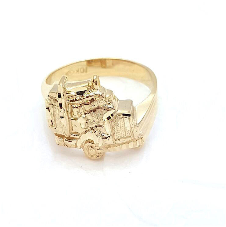 10k Yellow Gold Camionetto Round Shape Cubic Zirconia Men Ring - Solid Gold Online
