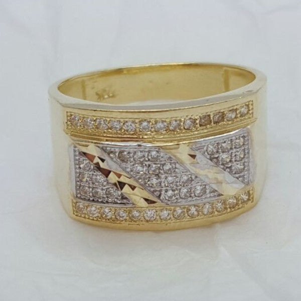 10k Yellow Gold Beneveto Round Shape Ring Cubic Zirconia Men Ring - Solid Gold Online