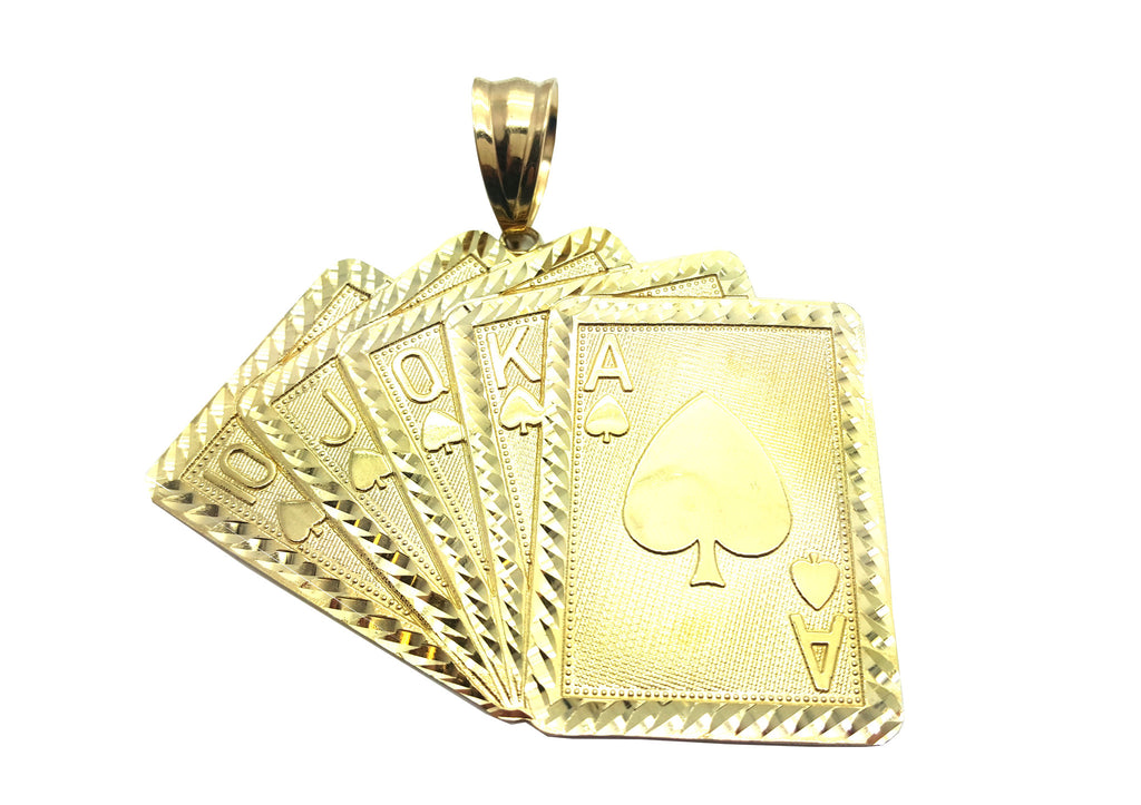 Large Royal Flush 10K Yellow Gold 21 Gr Men Pendant - Solid Gold Online