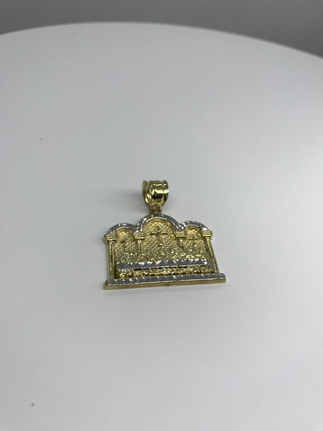 Last Super Gold Christian Civilization on 3 Dome Plated 10K Yellow Gold Pendant - Solid Gold Online