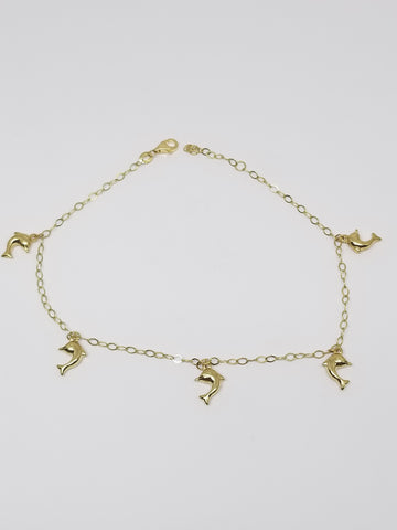 Little Dolphin 10K Yellow Gold Women Bracelet