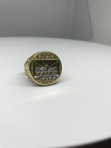 Macro Last Super Gold Christian Civilization on Round Shaped Plated 10K Yellow Gold Ring