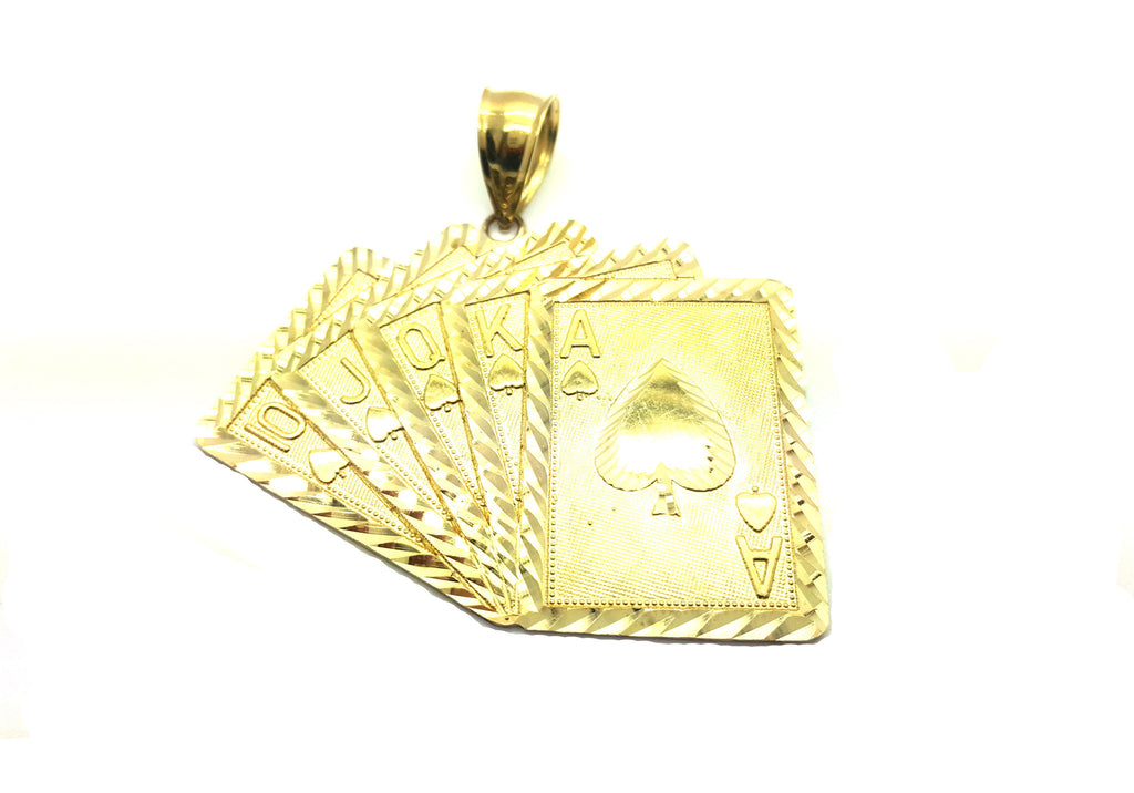 Medium Royal Flush 10K Yellow Gold 11.26 Gr Men Pendant - Solid Gold Online