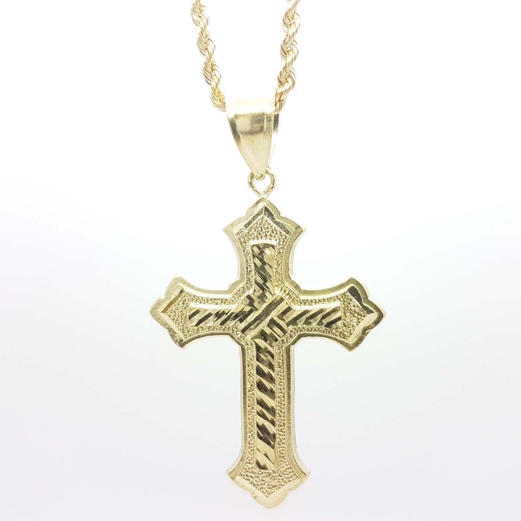 Well Designed 10k Yellow Gold Cross Pendant with Chain - Solid Gold Online