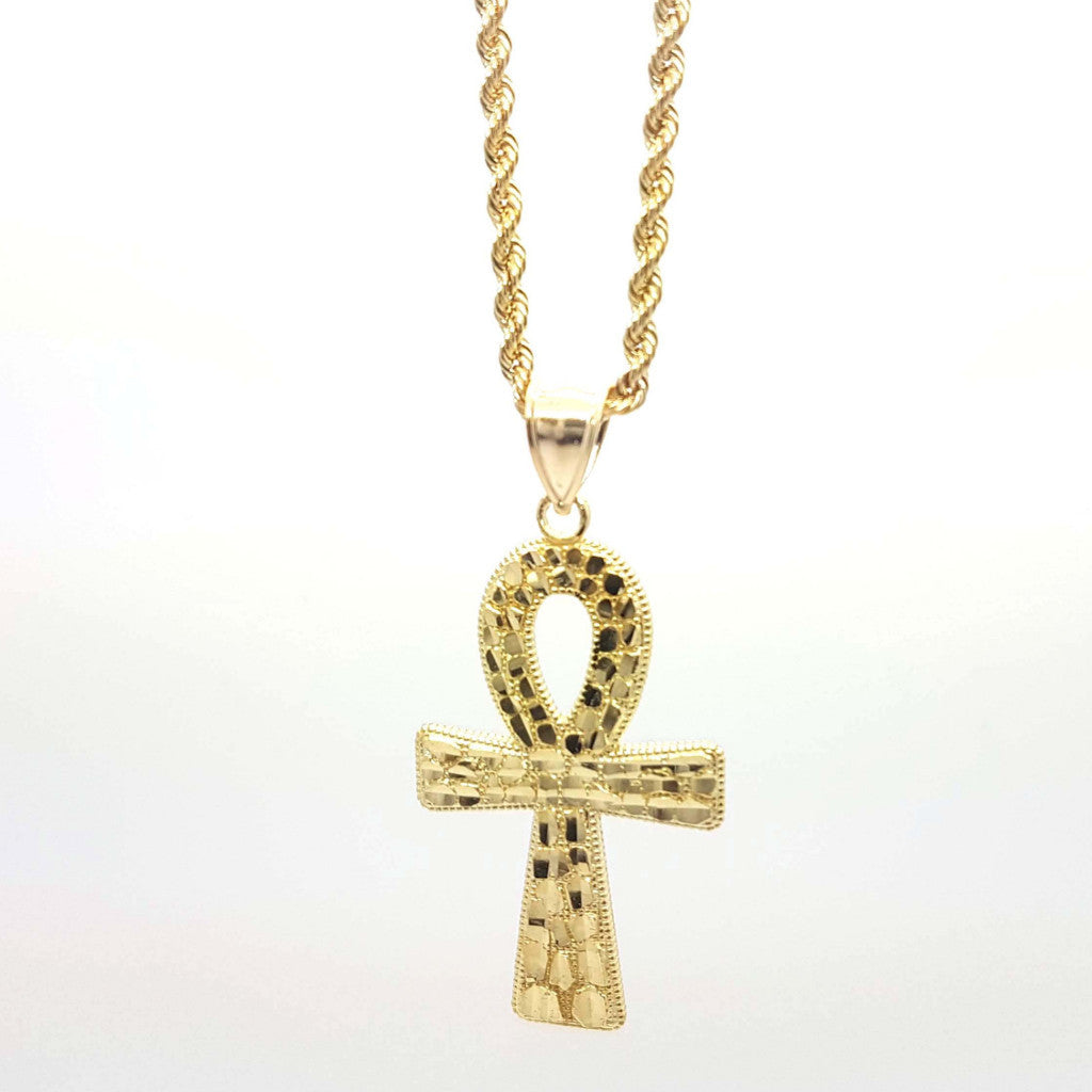 Stylish Cross 10k Yellow Gold Pendant with Chain - Solid Gold Online