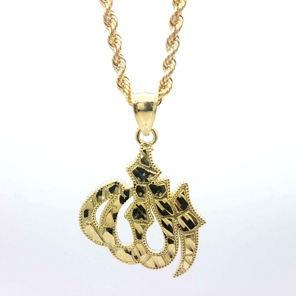 Allah Almighty 10k Yellow Gold Pendant With Chain - Solid Gold Online