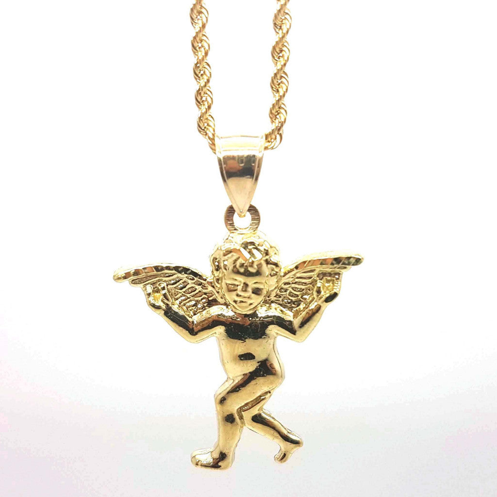 Charming Angle Gold Pendant with Chain - Solid Gold Online