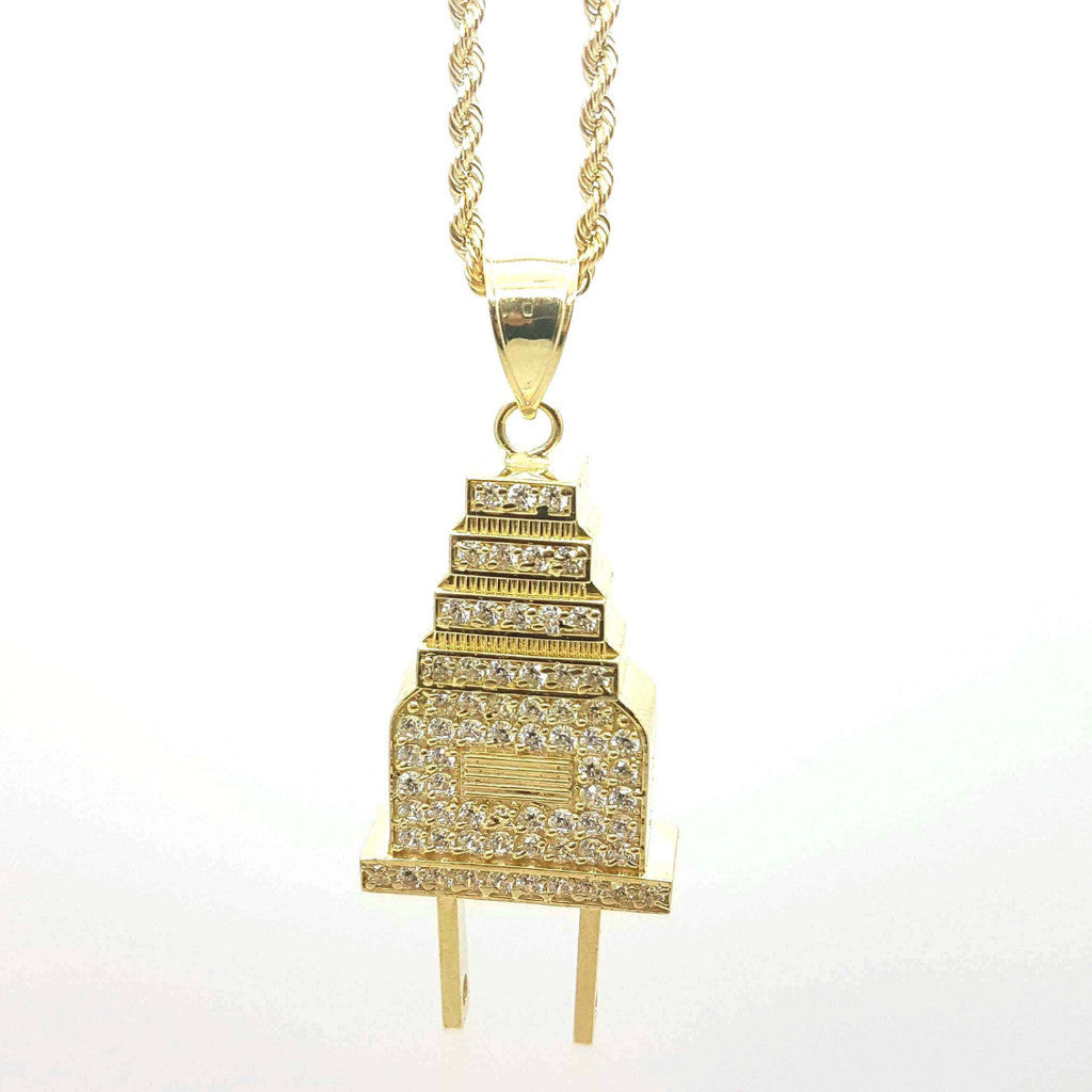 Electric Plug Gold Pendant with Chain - Solid Gold Online