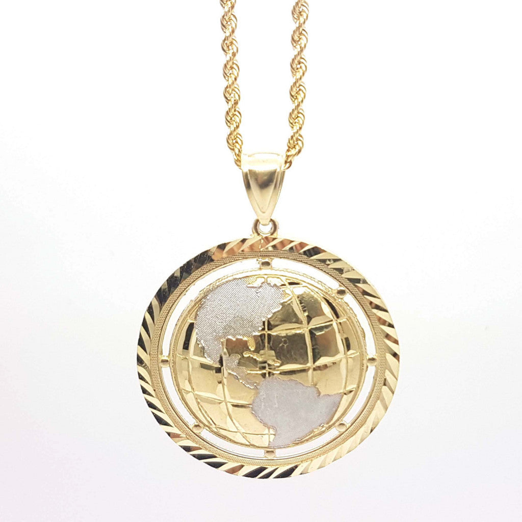 World Globe 10k Yellow Gold Pendant with Chain - Solid Gold Online