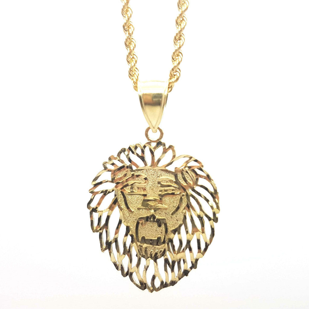 Lions Head 10K Yellow Gold Pendant with Chain - Solid Gold Online