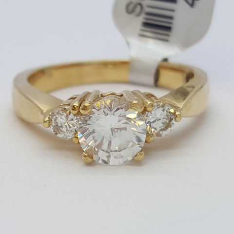 Rachele 10K Solid Yellow Gold Diamond Women Ring