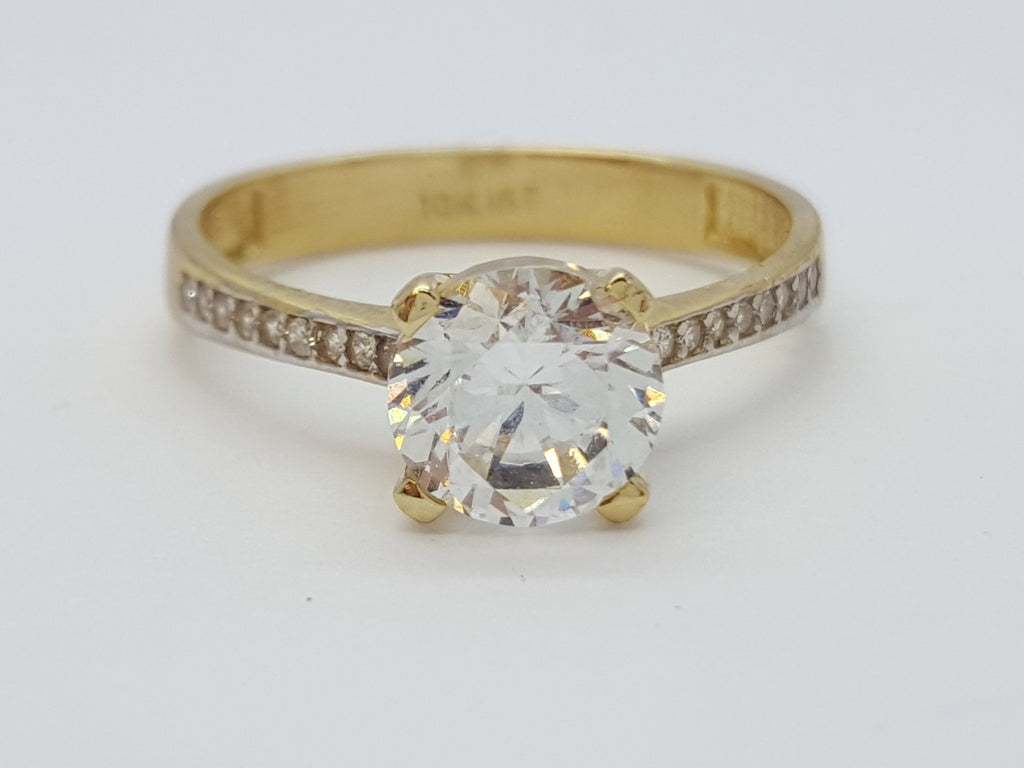 Raffaella 10K Solid Yellow Gold Diamond Women Ring