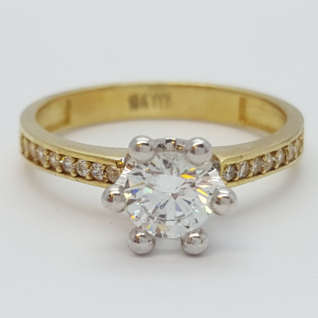 Rosalinda 10K Solid Yellow Gold Diamond Women Ring