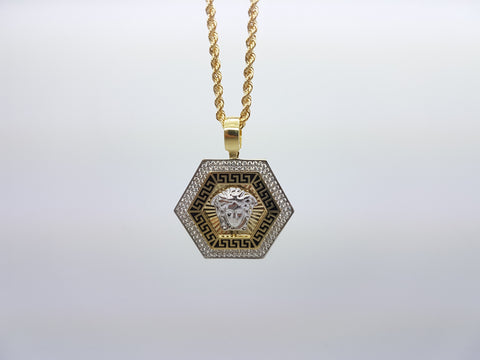 Medusa Head With Hexagon Shaped 10K Solid Yellow Gold Men Pendant With Gold Chain