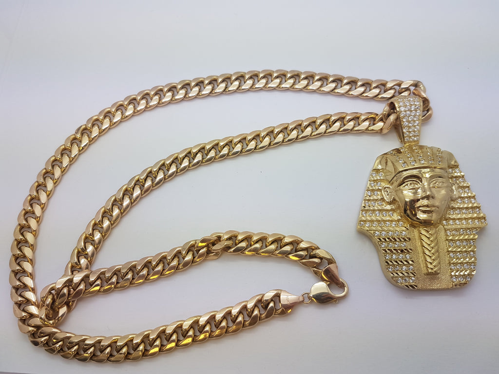 Pharaoh terni 10k solid yellow gold pendant with chain men necklace pharaoh terni 10k solid yellow gold pendant with chain men necklace aloadofball Image collections