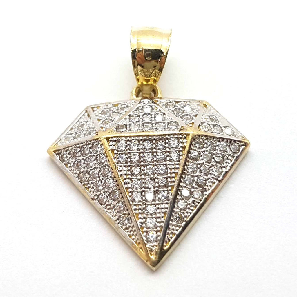 Diamond Shaped 10K Yellow Gold Pendant for Men - Solid Gold Online