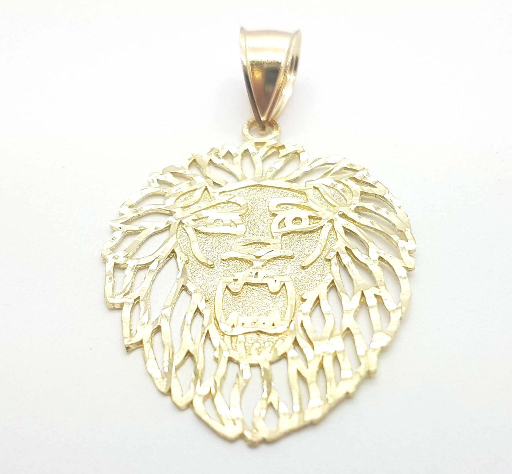 Solid Gold Lion Heads 10k Yellow Gold Pendant for Men - Solid Gold Online