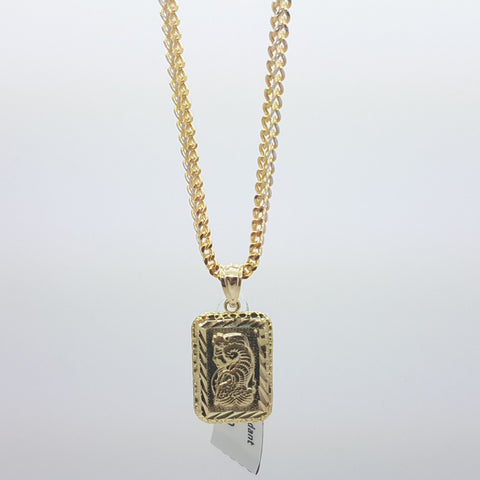 10K Solid Yellow Gold Bar Pendant Lady Fortuna Suisse (w/necklace)