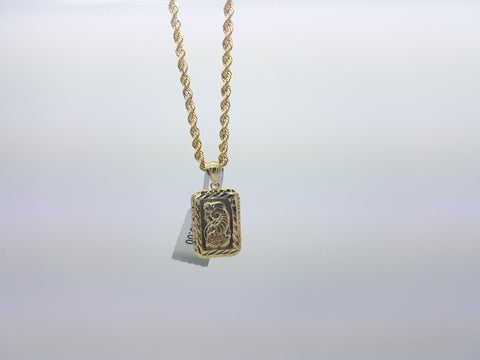 10K Solid Yellow Gold Pendant Lady Fortuna (With/Necklace)