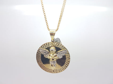 10K Solid Yellow Gold Circle Angel Pendant With Chain