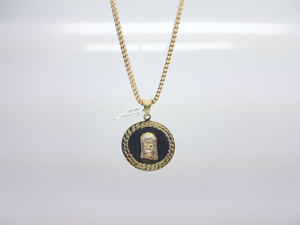 10k Solid Yellow Gold Jesus Face Round Coin Pendant With Chain - Solid Gold Online