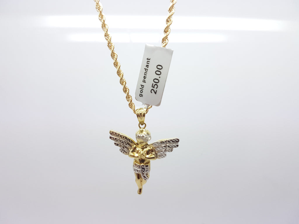 10K Yellow Gold Praying Angle Pendant Necklace - Solid Gold Online