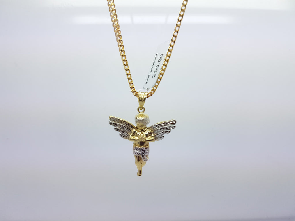 10k Solid Yellow Gold Praying Angel Pendant Charm Hollow Chain Set
