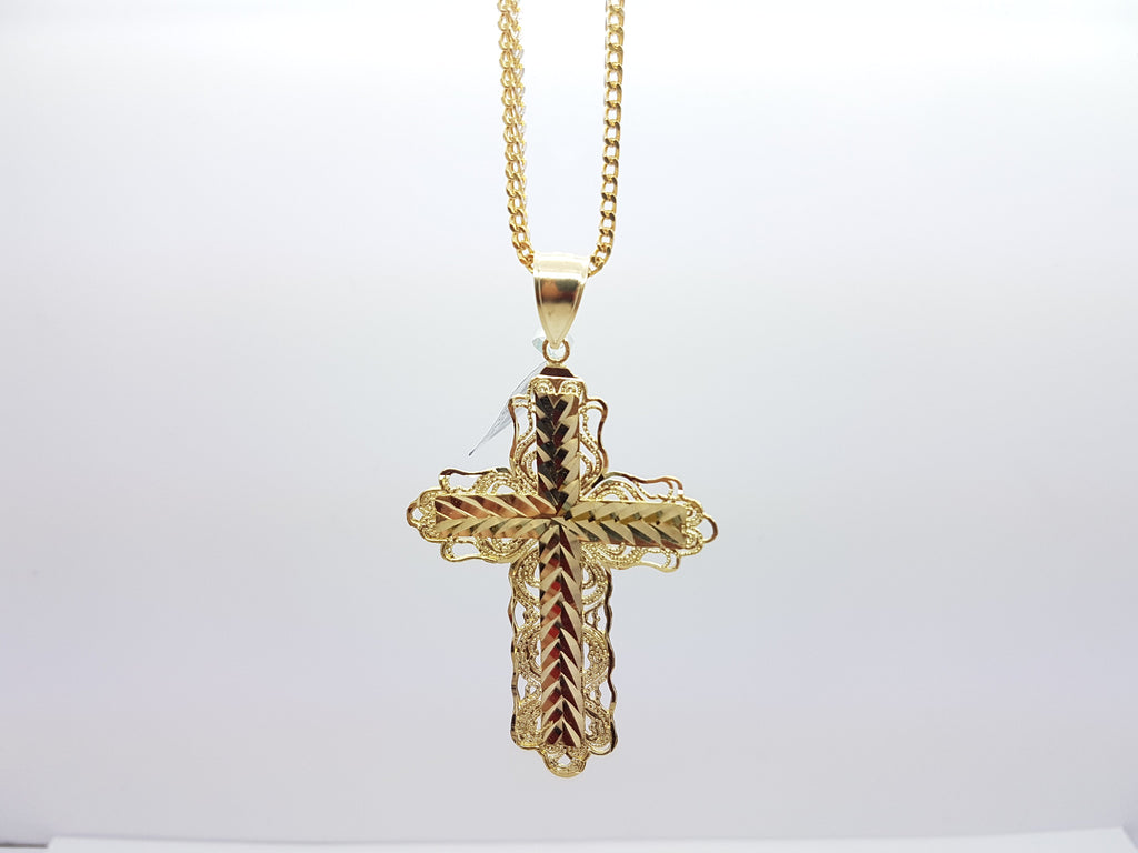 Beautifully Designed 10K Solid Yellow Gold Cross Gold Pendant With Chain - Solid Gold Online