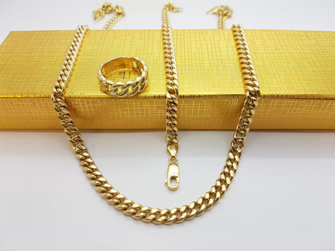 10K Solid Yellow Gold Chain Necklace With Ring