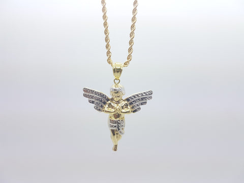 10K Solid Yellow Gold  Angel Pendant Men's Necklace Set