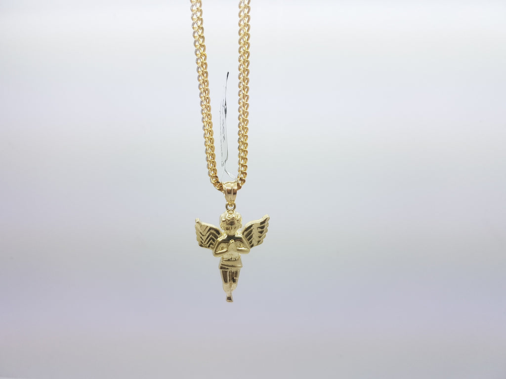 Unique Solid Yellow Gold  Angel Pendant With Chain For Men - Solid Gold Online