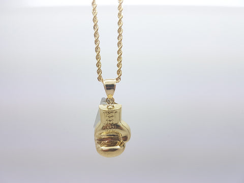 10K Solid Yellow Gold Boxing Glove Pendant With Chain For Men