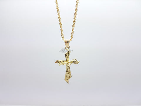 10K Solid Yellow Gold Criss Cross Pendant With Chain For Men - Solid Gold Online