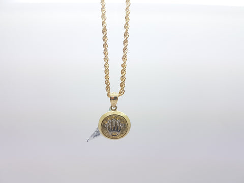10K Solid Yellow Gold Crown Medallion Pendant With Chain for Men - Solid Gold Online